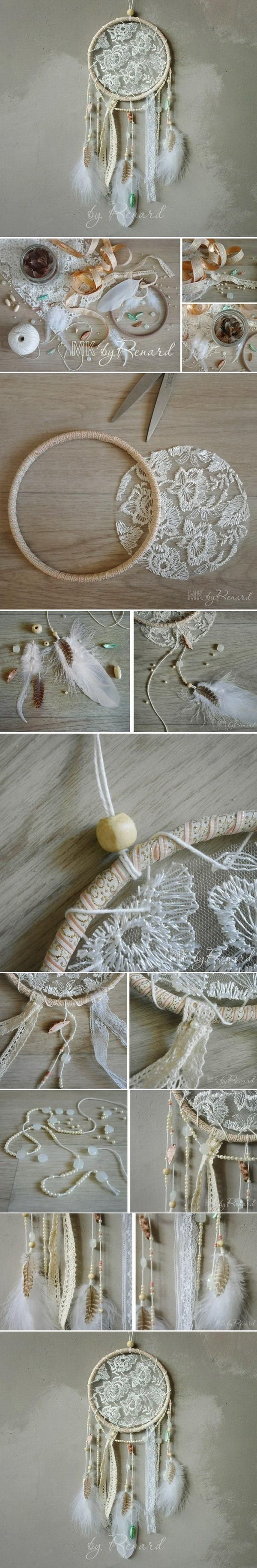 White lace dream catcher. It is super easy to put a piece of lace in your dreamcatcher if you are not good at crocheting. With just a few easily available scraps and beads, and this DIY piece can be make in no time!