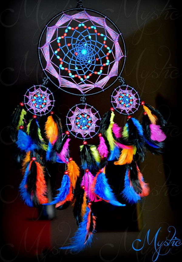 This is a colorful and attractive dream catcher made with different colored feathers, strings and beads. A great piece of art work for home decor!