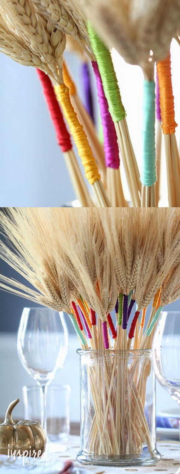 DIY Color Wrapped Wheat. Add a pop of colors to your Thanksgiving table with this stunning and beautiful DIY craft.