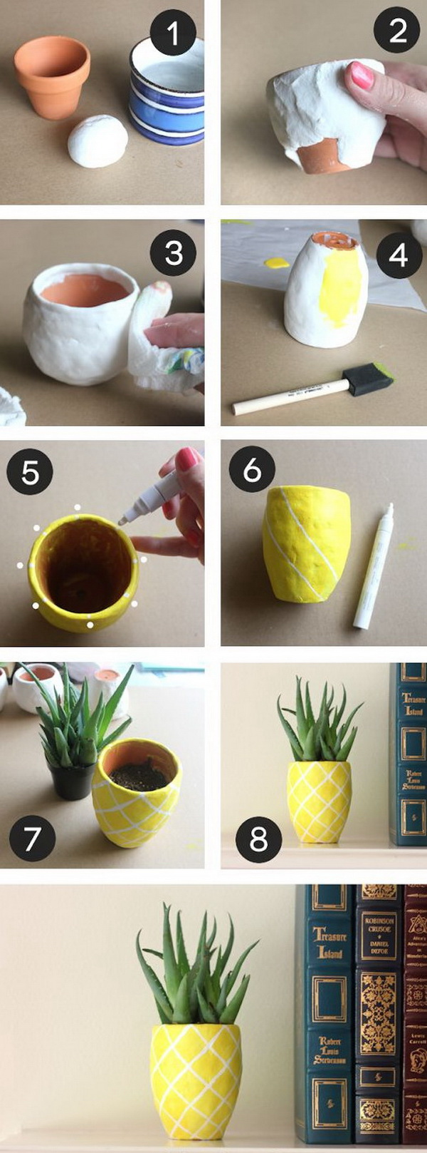 DIY Succulent Pineapple Planter. Turn a regular terra cotta pot into the cutes and fun pineapple planter with air dry clay. Perfect for your desk, or make as a gift for your friends and coworkers!