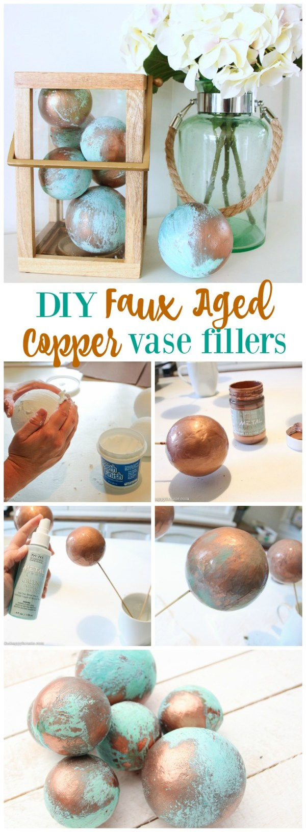 DIY Faux Aged Copper Vase Fillers. These simple and beautiful DIY faux copper ball vase fillers… are a simple and beautiful home decor craft.