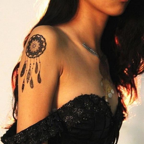 Mandala dream catcher tattoo design.