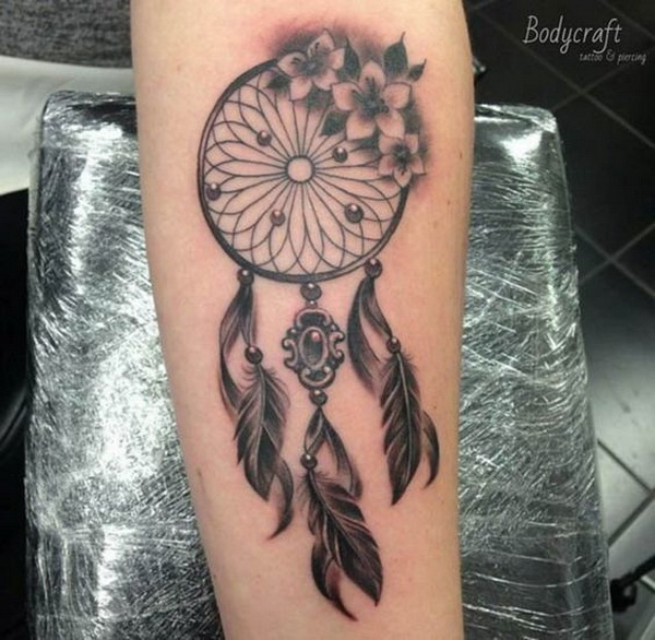 Vintage dreamcatcher tattoo design.