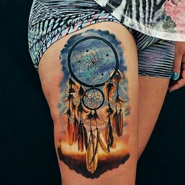 Beautiful color dream catcher thigh piece.