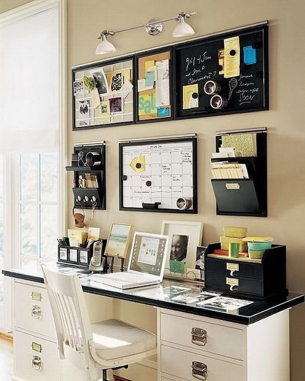 Small Home Office Space on One Wall. Make full use of the wall space to organize all your office supplies. Everything has its way in order! It looks so neat and tidy!