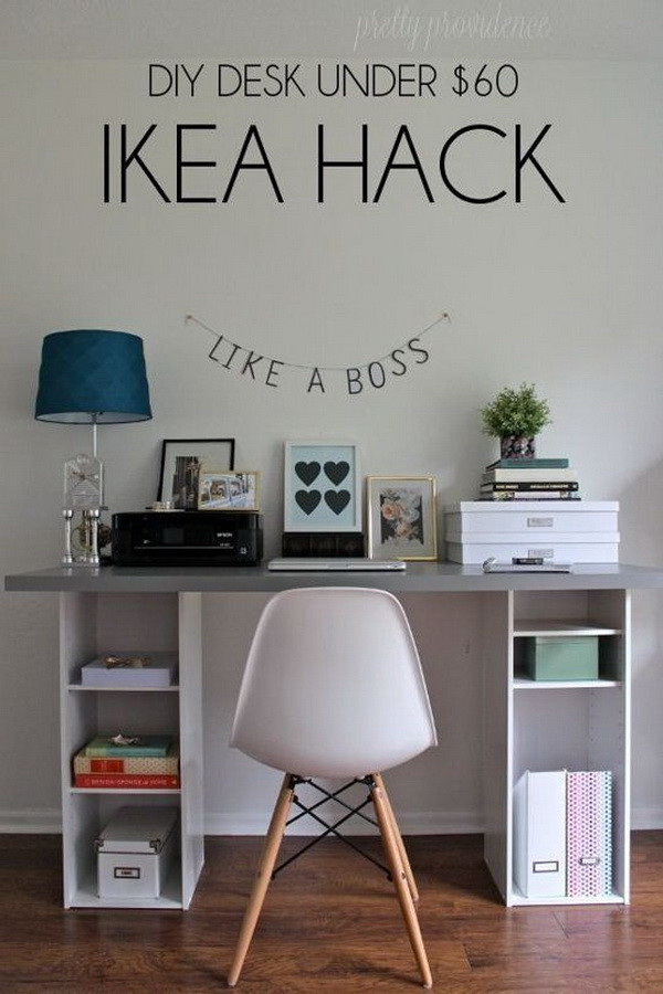 Create this unique, functional and decorative desk for your home office inspired by IKEA hacks! What you need are two small bookshelves from Target ($18 each) and a big butcher block desk top or a counter top from IKEA. Low-budget with high impact DIY home office ideas!