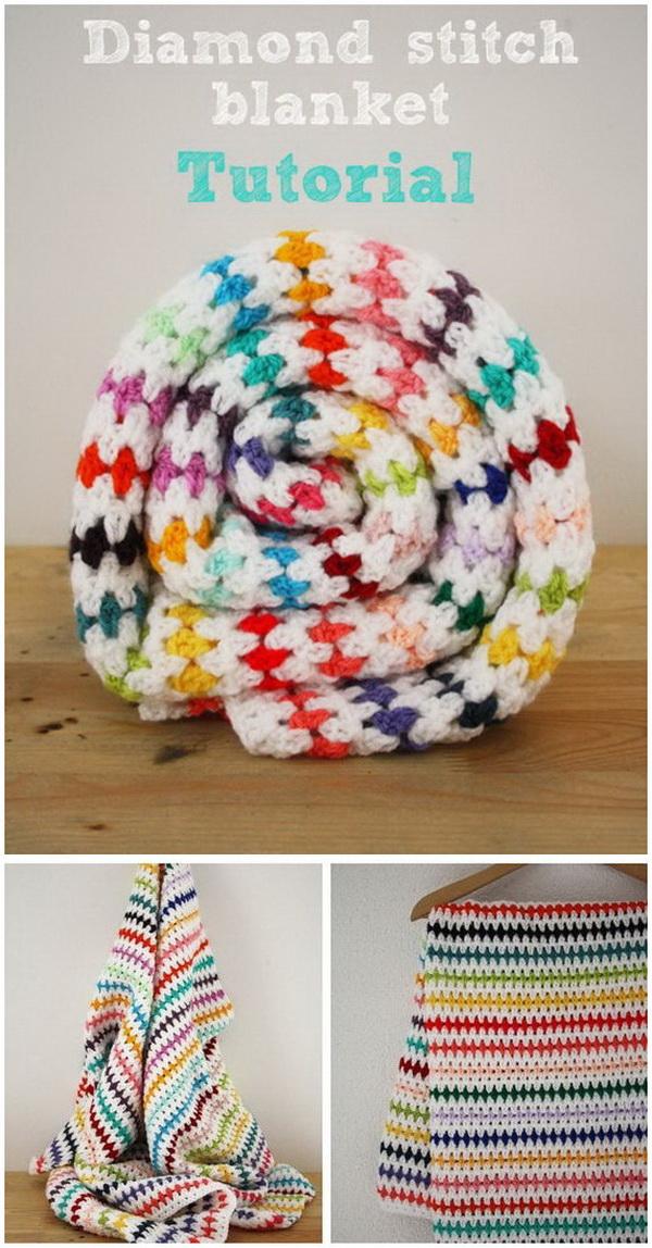 Diamond Stitch Blanket Crochet Pattern.
