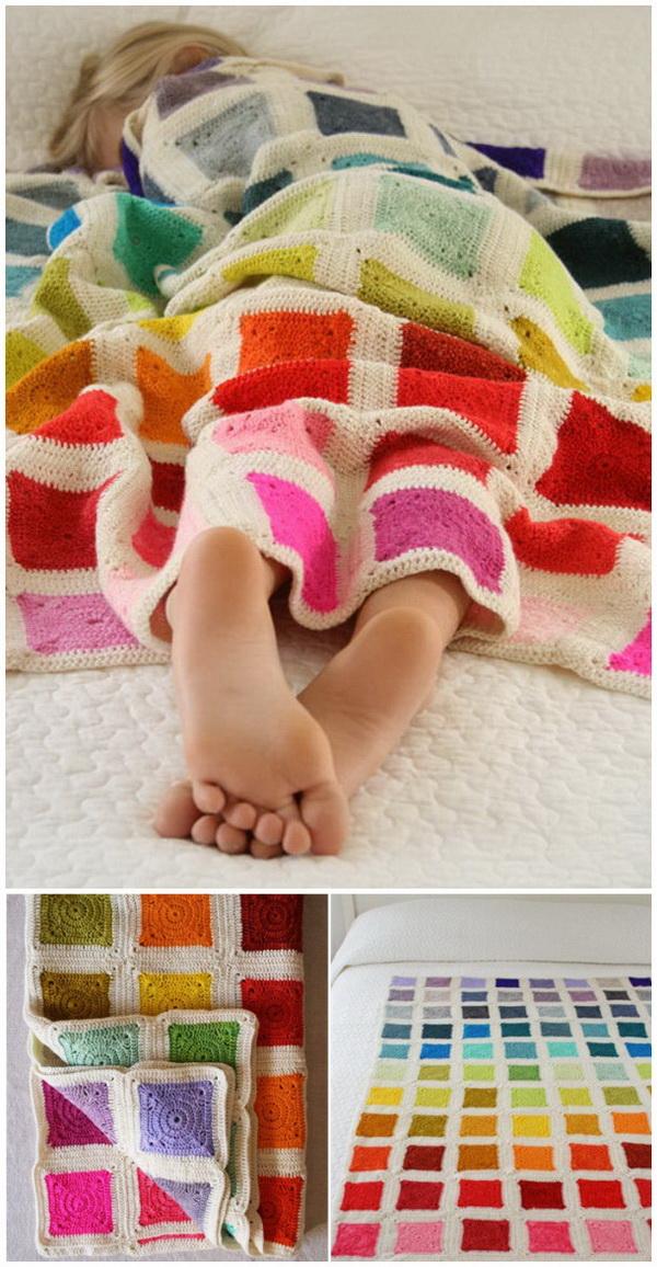 Rainbow Blanket Crochet Pattern.