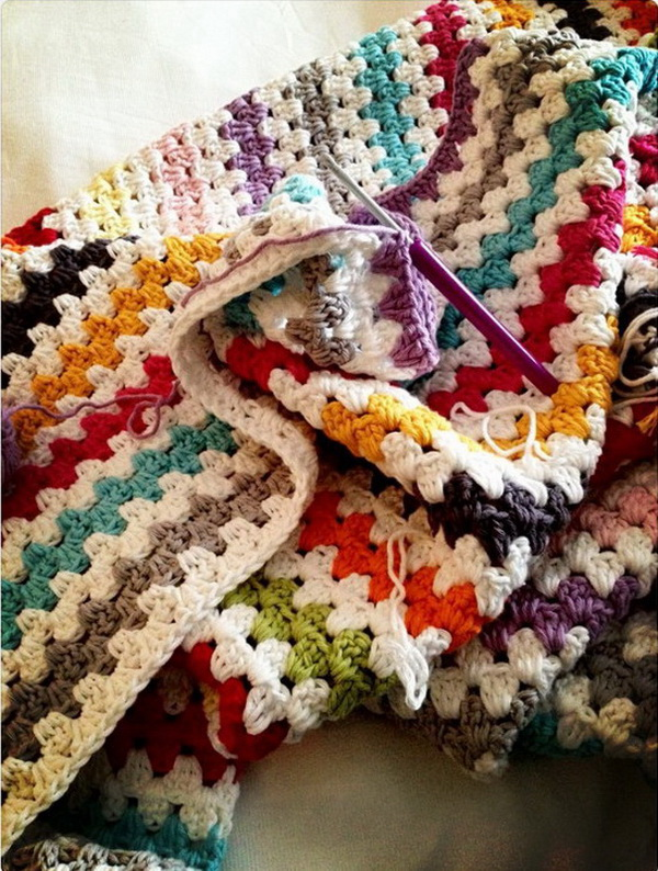 Granny Stripe Crochet Afghan Throw Blanket.