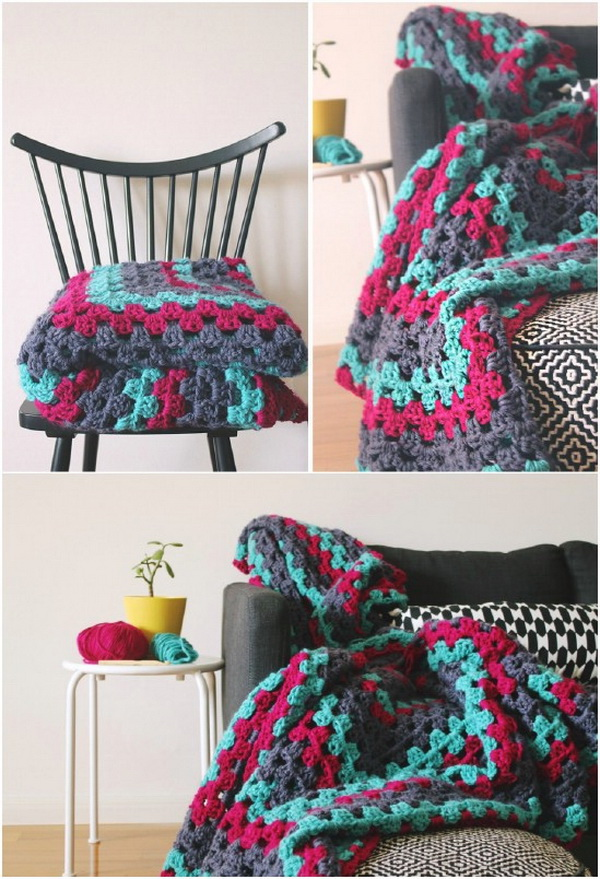 Giant Granny Square Throw.