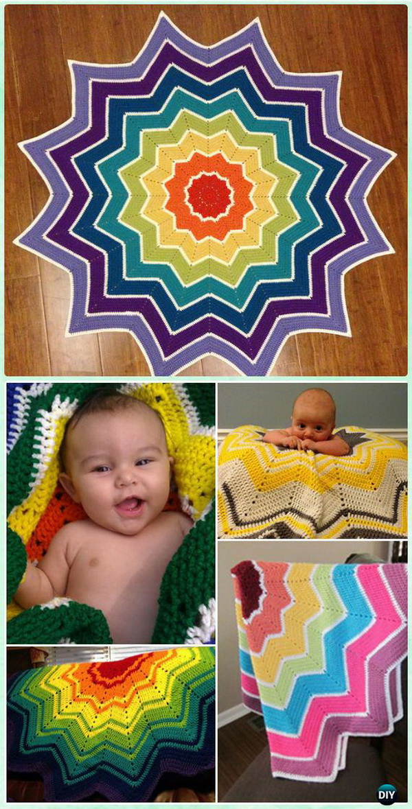 Crochet Rainbow Ripple Baby Blanket. Add the rainbow colors and white stripes to create the kind of fun and cheerful contrast. This rainbow ripple baby blanket is also quick to work up.