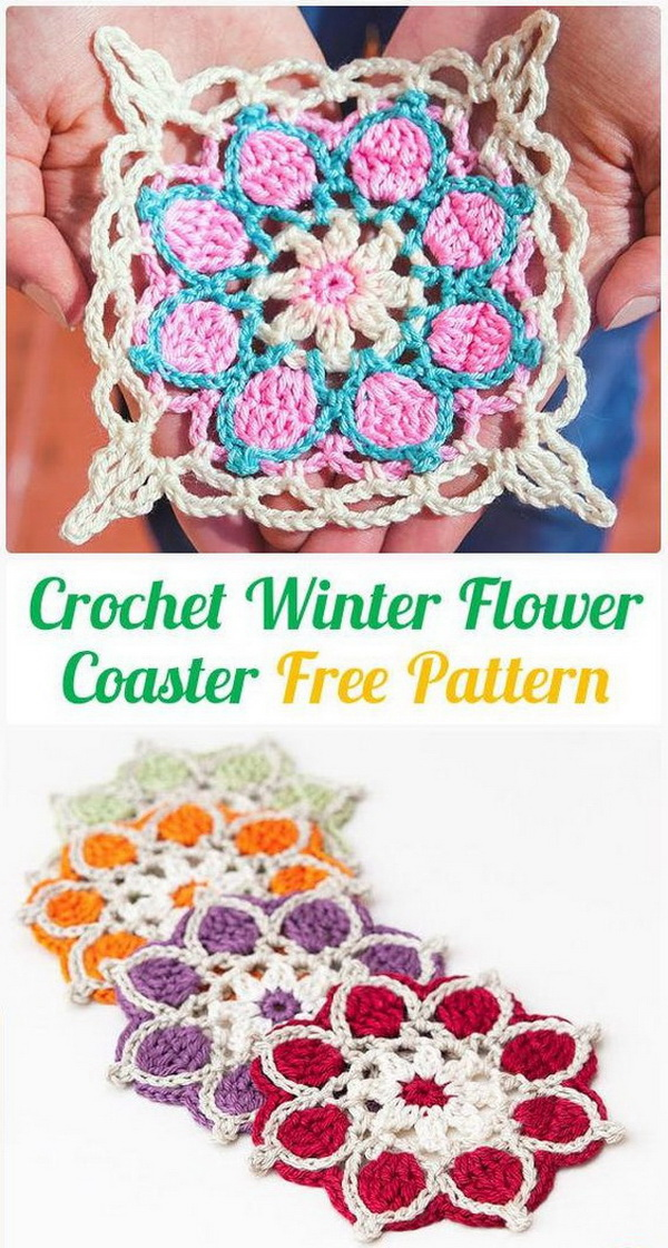 Crochet Winter Flowers Coasters. This crochet winter flower coaster is a nice crochet project for your table or as a gift for family and friends.
