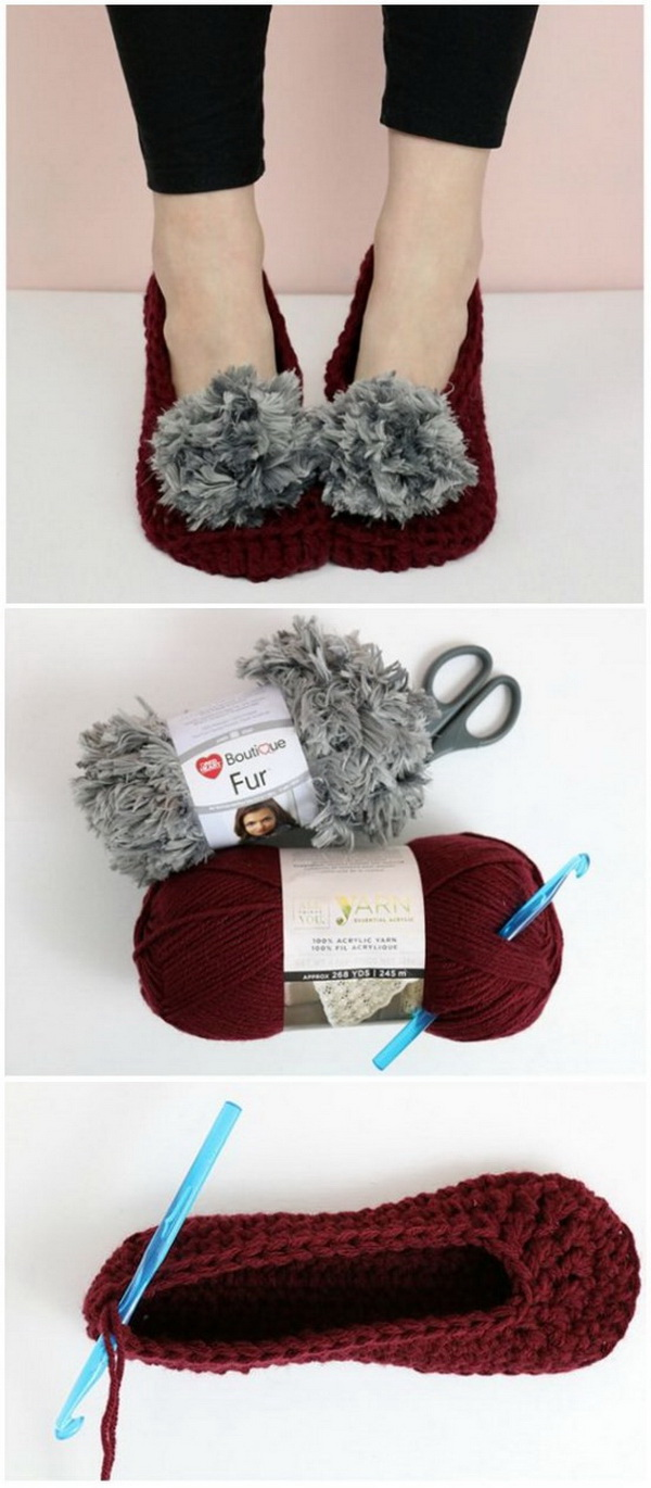 Fur Pom Pom Crochet Slippers Pattern. Crocheted slippers is an ideal first