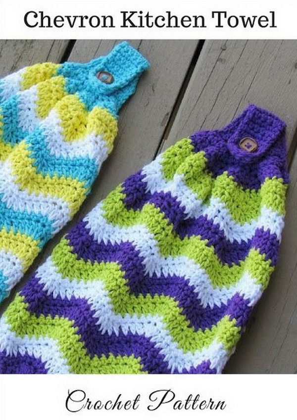 Chevron Kitchen Towel, Free Crochet Pattern. This adorable chevron crochet scrubbie pattern is the perfect way to bring in a pop of color to your kitchen or bathroom.