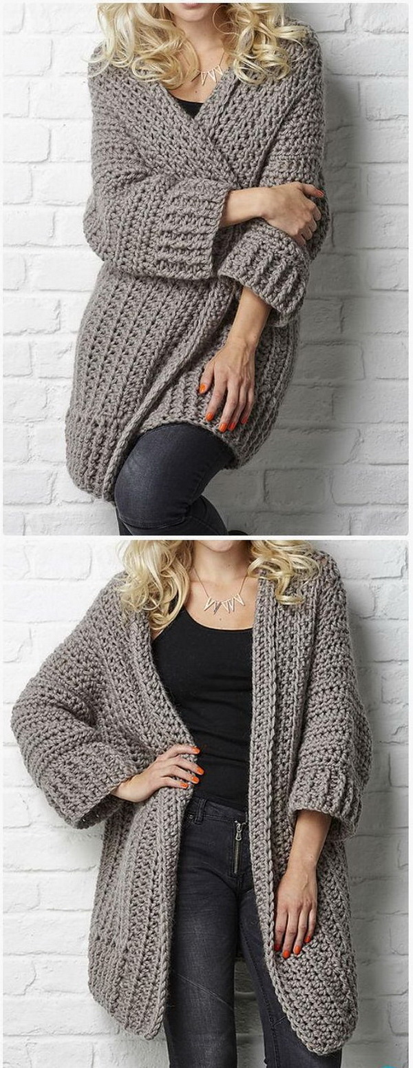 Easy crochet patterns for beginners for creative juice crochet big chill cardigan pattern this crochet sweater coat in everyday style for women is bankloansurffo Images