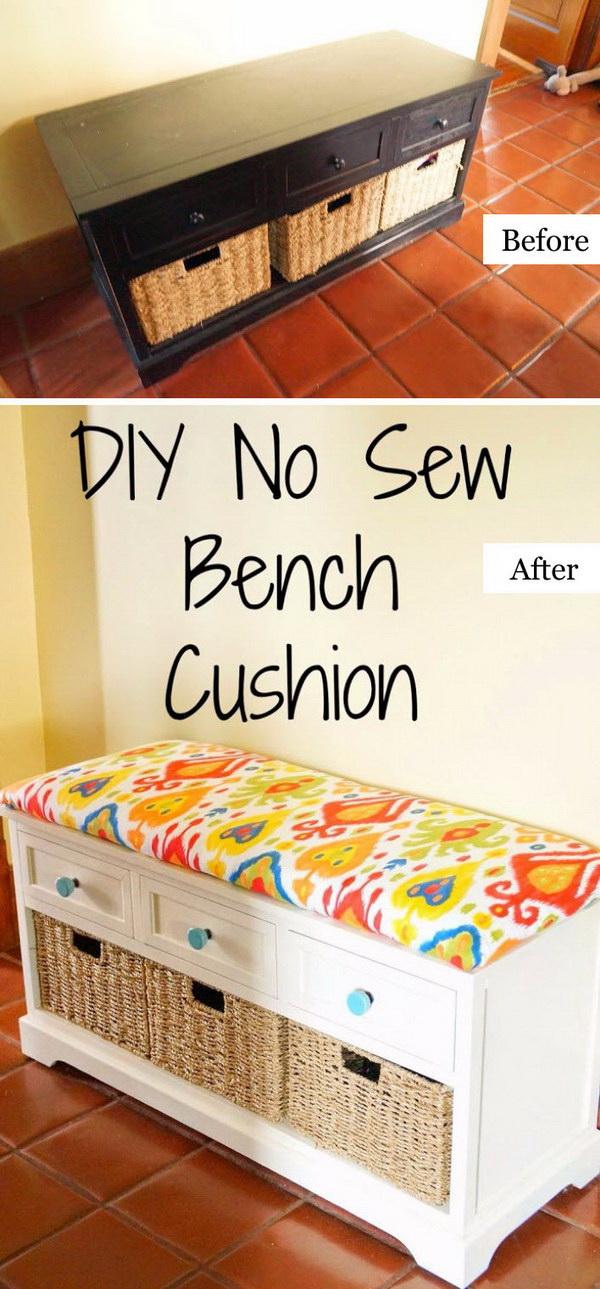 DIY No Sew Bench Cushion.