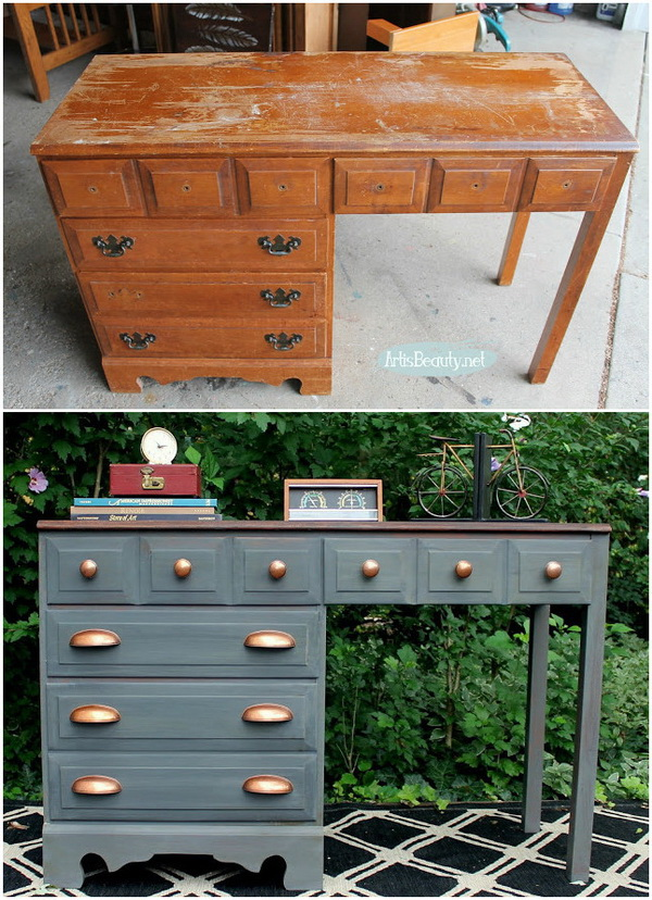 Makeover furniture ideas Transformation Gray And Copper Desk Makeover For Creative Juice Awesome Diy Furniture Makeover Ideas Genius Ways To Repurpose Old