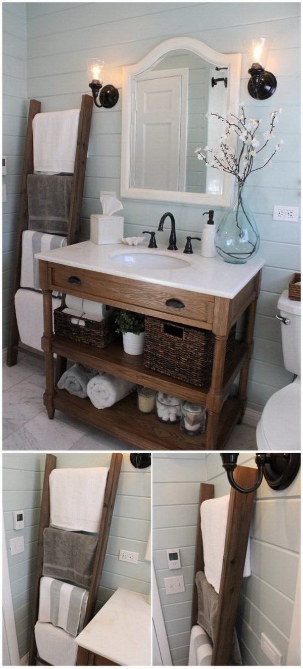 Rustic Towel Organization Ladder. The old wooden ladder is really a great addition to your bathrooml It not only provides a good storage and organization idea for your bathroom towels, but also adds unique rustic charm to your decor.