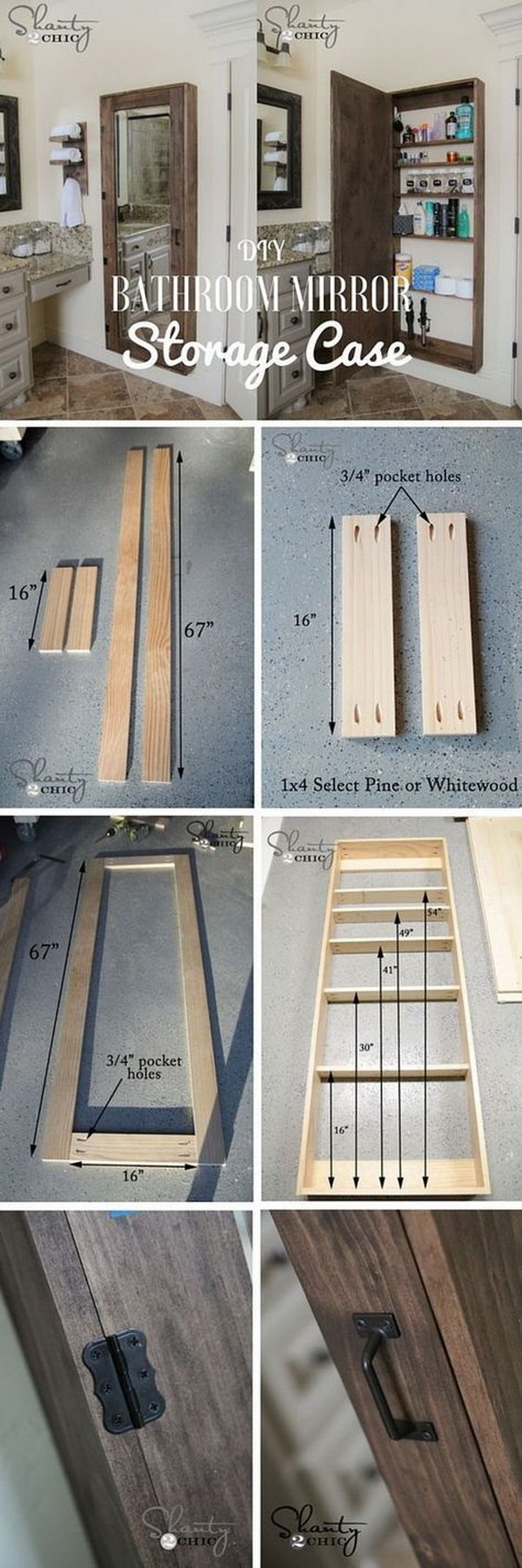 DIY Bathroom Mirror Storage Case. What a creative and genius DIY project to add extra storage to small bathrooms! Both practical and decorative with rustic farmhouse stlyle!