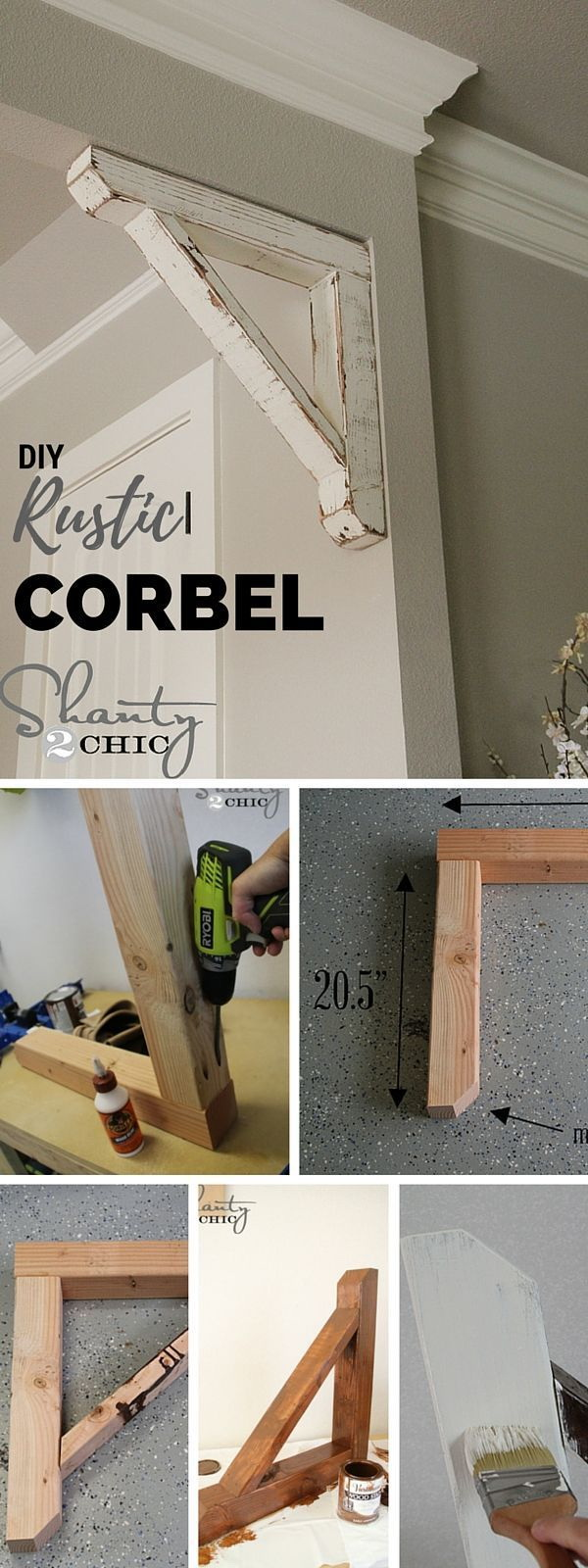 DIY Rustic Wood Corbel. A corbel is a decorative bracket that is suspended below a shelf, beam or ceiling.