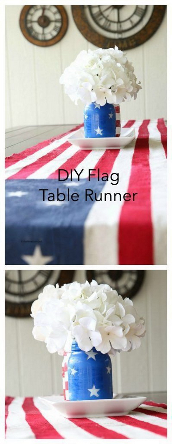 DIY 4th of July Decorations: DIY Flag Table Runner.