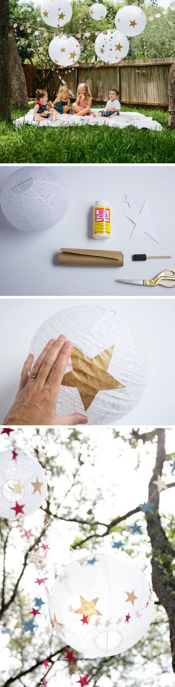 DIY 4th of July Decorations: DIY 4th of July Paper Lanterns.