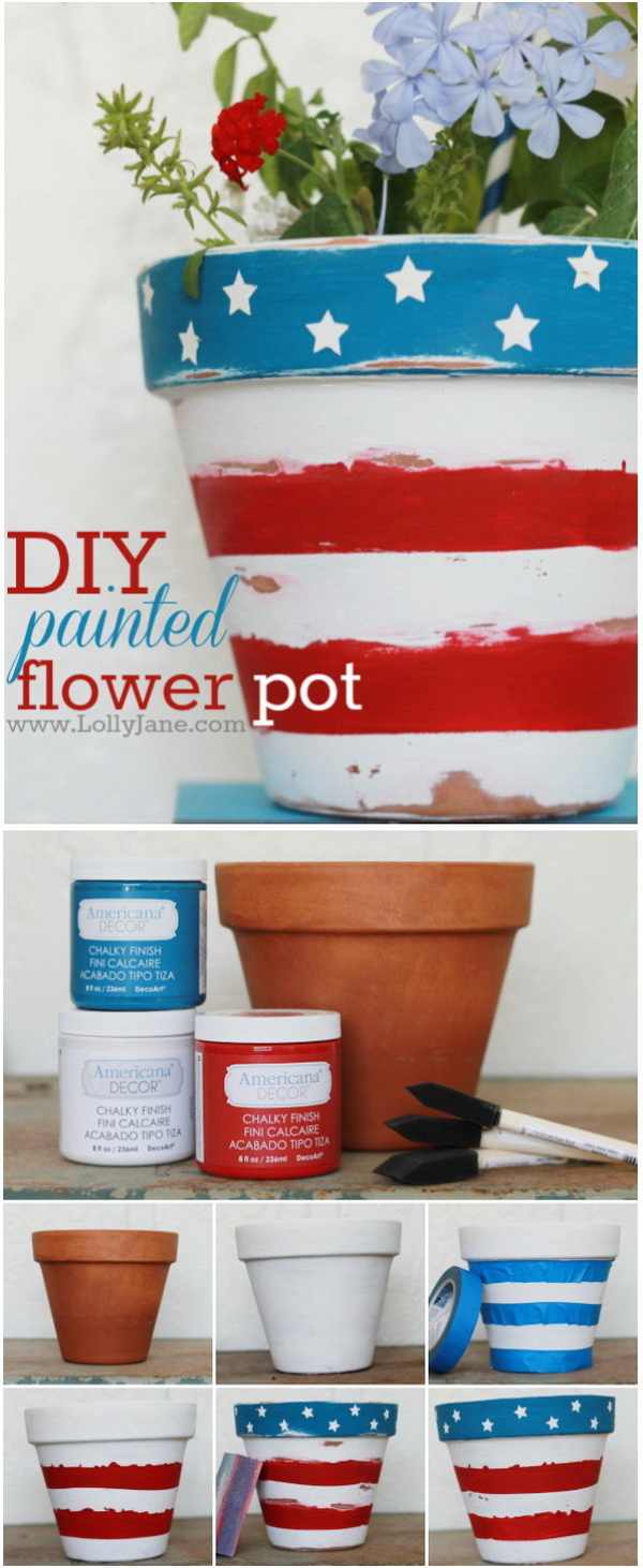 DIY 4th of July Decorations: DIY Painted Flower Pot.