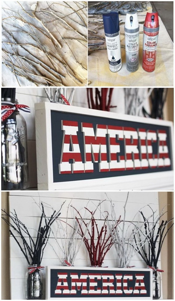 DIY 4th of July Decorations: DIY 4th Of July Fireworks Mantel.