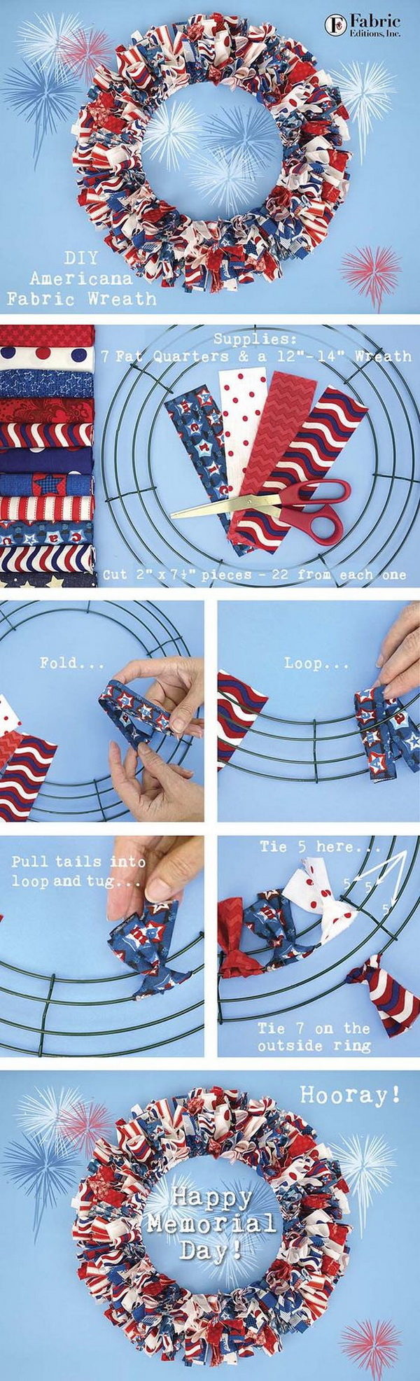 DIY 4th of July Decorations: Red, White & Blue Fabric Wreath.