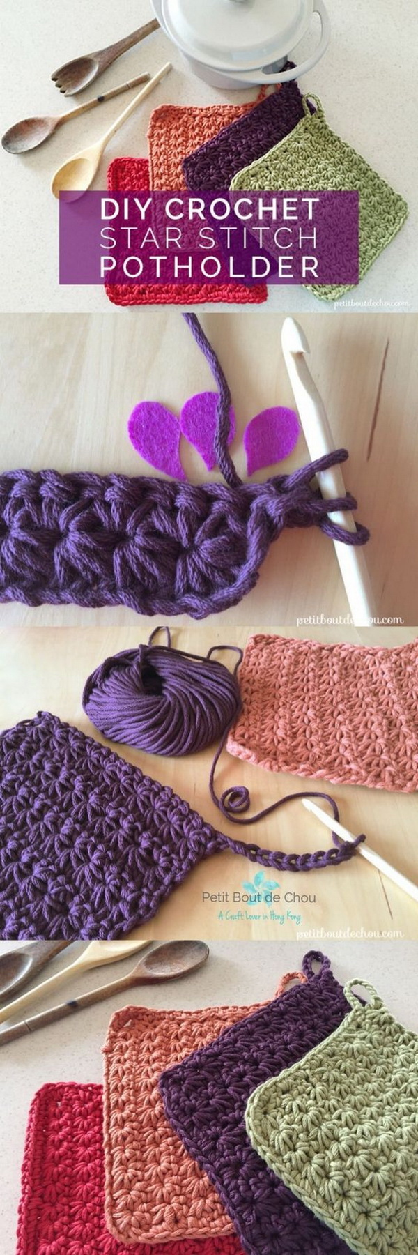 Mother's Day Crafts and gifts: DIY Crochet Star Stitch Potholder.
