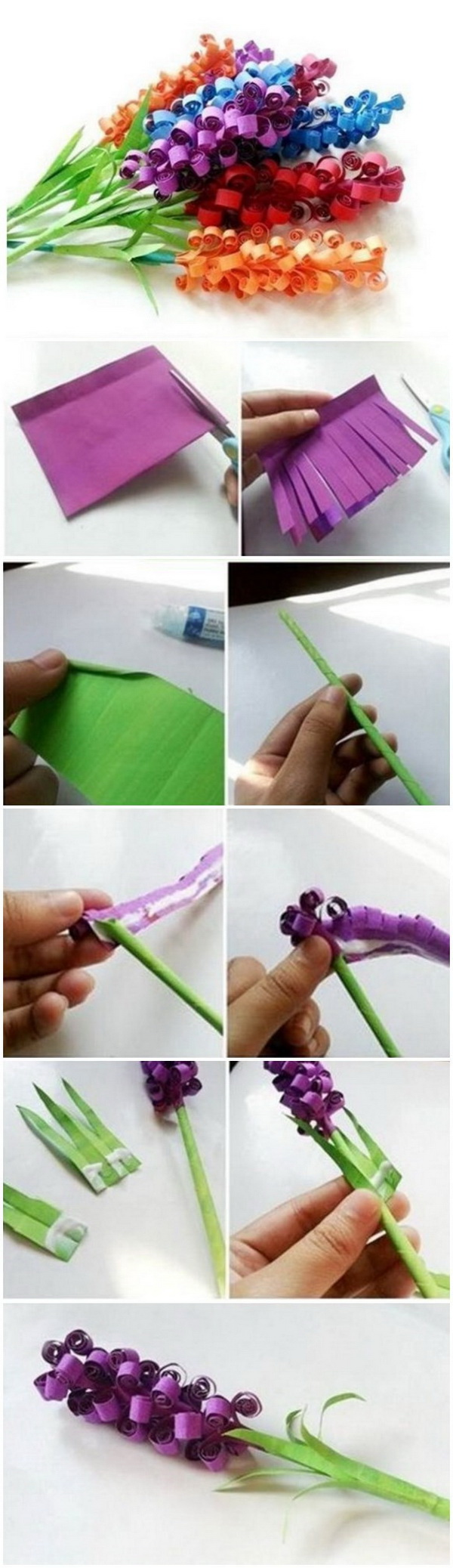 Mother's Day Crafts and gifts: DIY Beautiful Curly Paper Flowers.