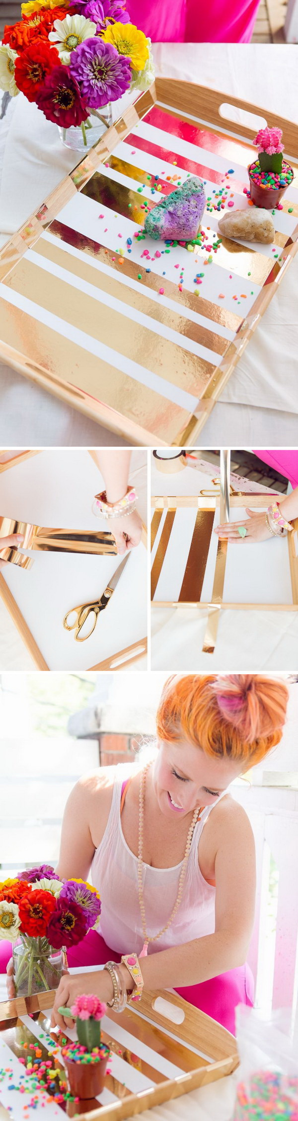 Mother's Day Crafts and gifts: DIY Gold Taped Serving Tray.