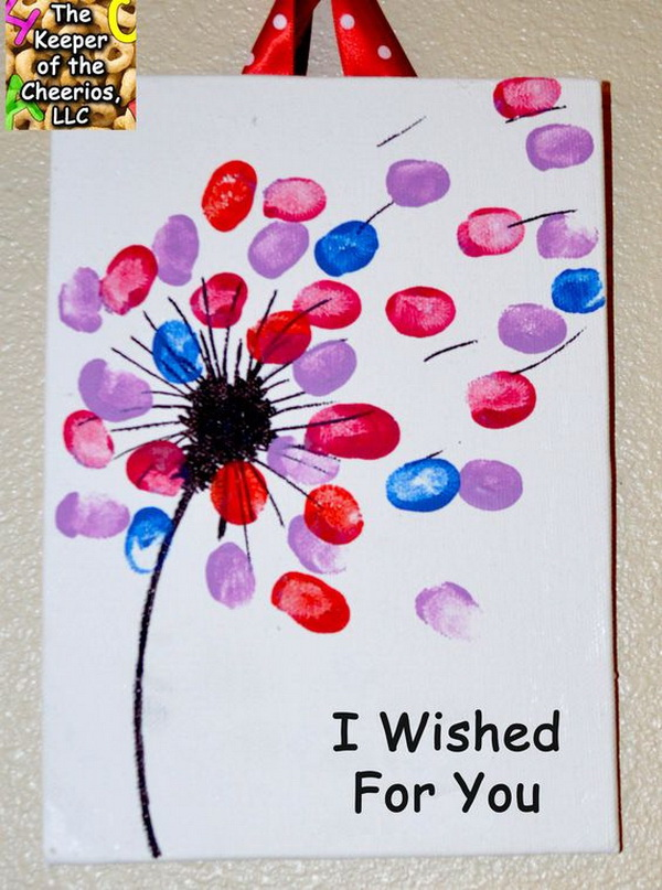 """Mother's Day Crafts and gifts: """"I wished for you…"""" Dandelion Canvas."""