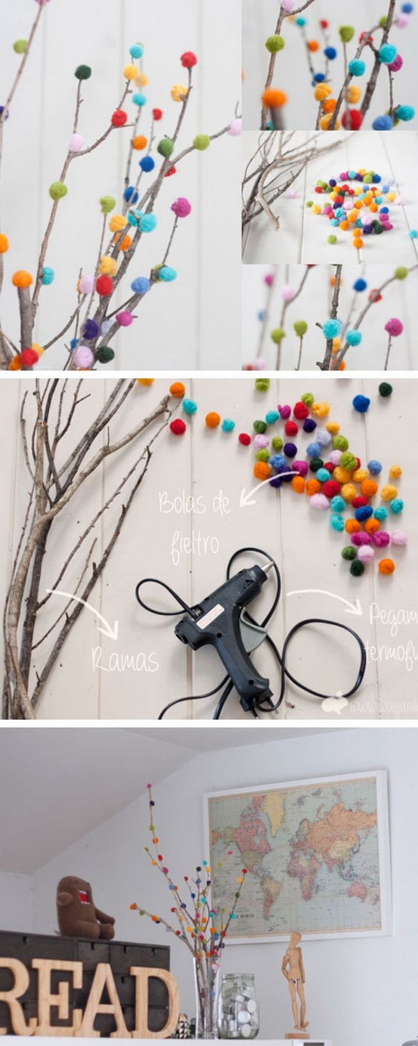 Mother's Day Crafts and gifts: DIY Pom-Pom Tree Bouquet.