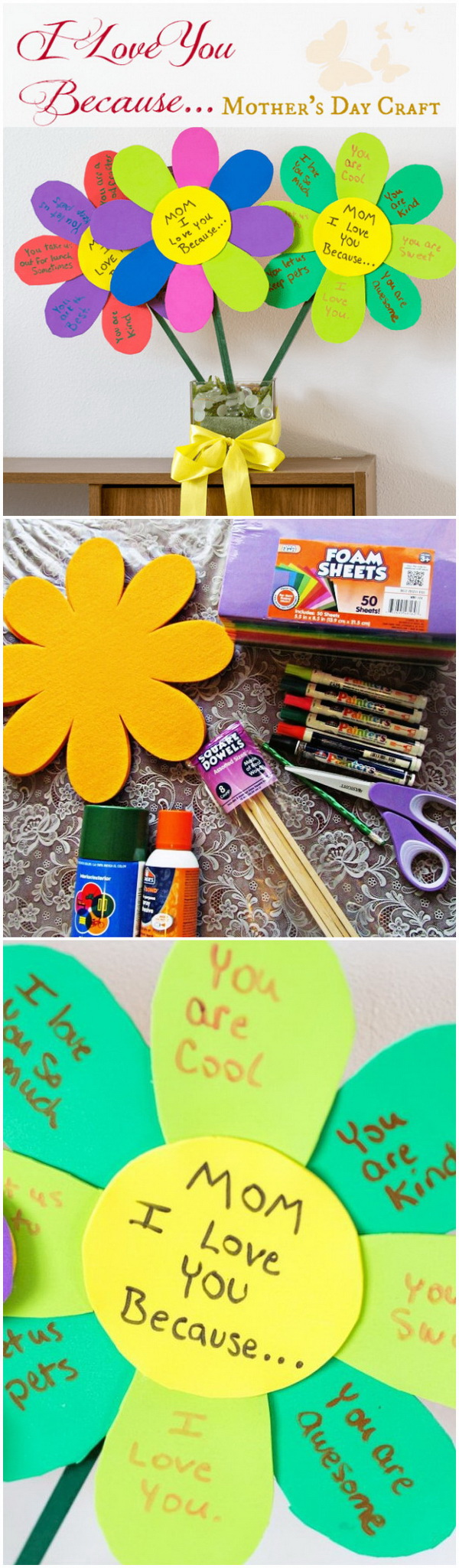 Mother's Day Crafts and gifts: I LOVE YOU Because... Mother's Day Craft Flowers.