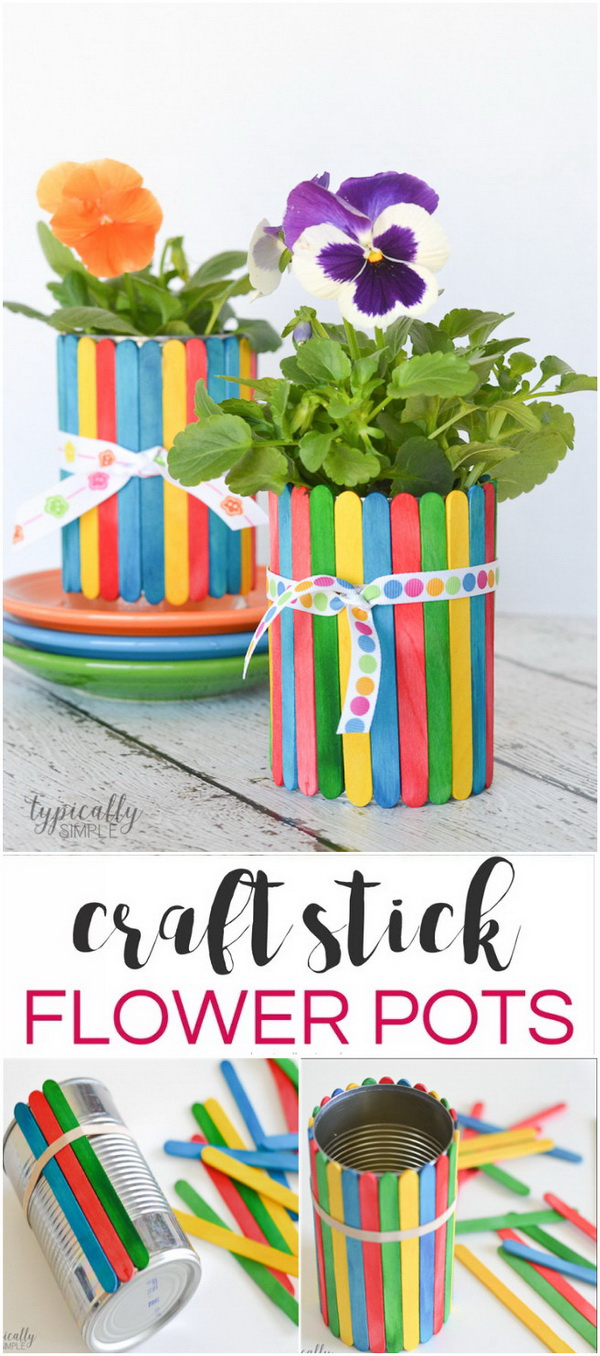 Mother's Day Crafts and gifts: Personalized Colorful Craft Stick Flower Pots.