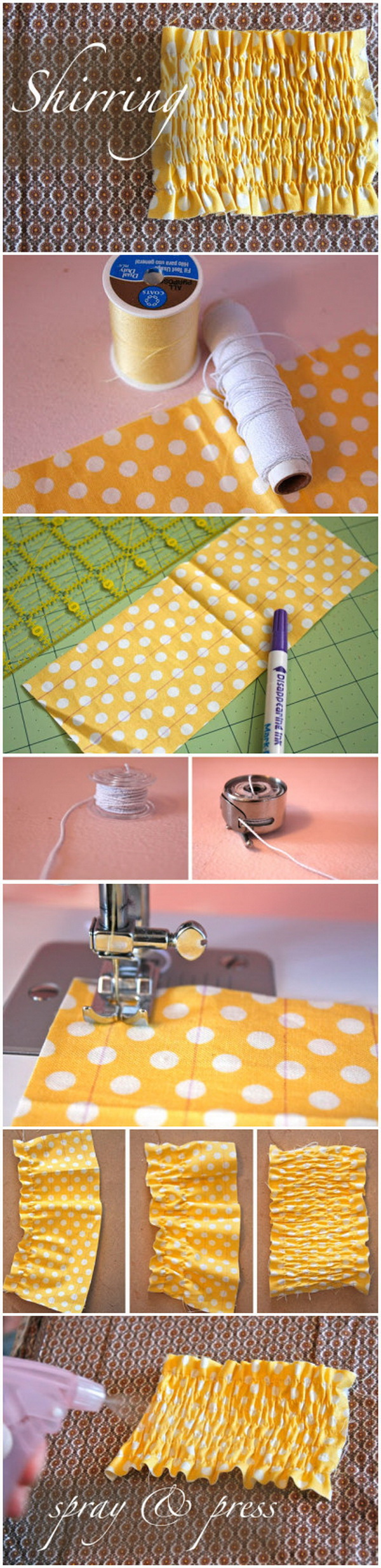Genius Sewing Tips & Tricks: How to Create Shirring with Elastic Thread.