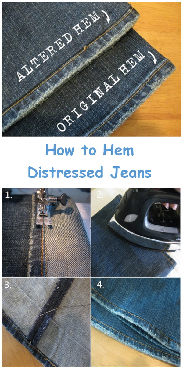 Genius Sewing Tips & Tricks: Hemming Distressed Jeans.