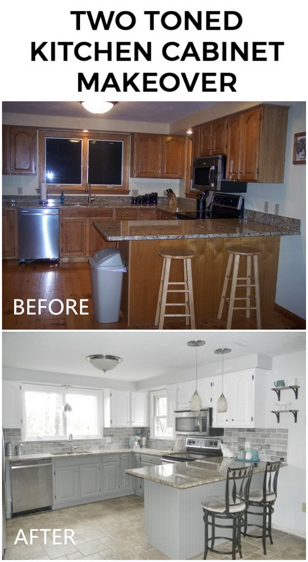 Two Toned Kitchen Caninet Makeover: