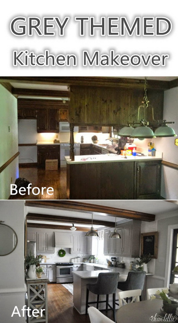 Gray Themed Kitchen Makeover.