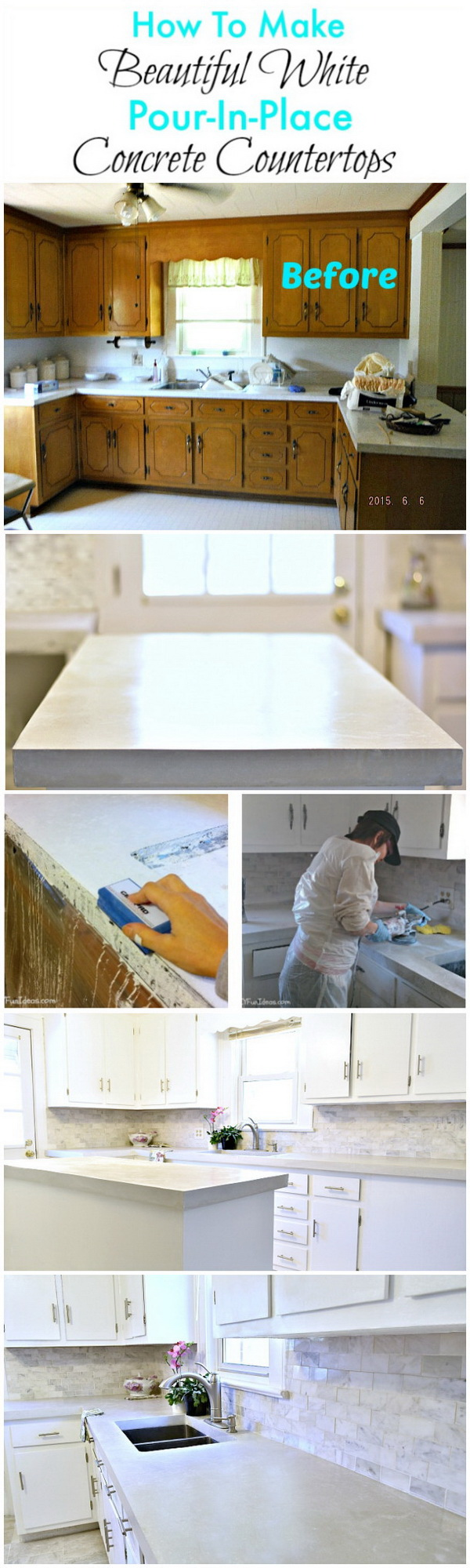 How To Make Diy Cast In Place White Concrete Countertops.