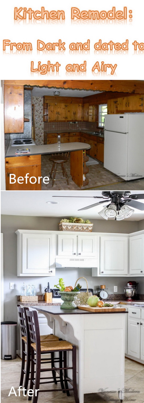 Dark and dated kitchen turned light and airy.