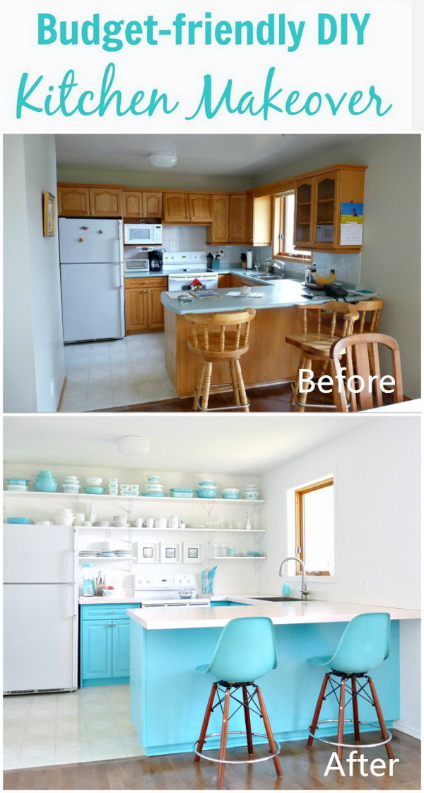 A Budget-Friendly Turquoise Kitchen Makeover.