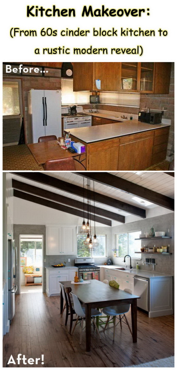 Kitchen Makeover:(From 60s cinder block kitchen to a rustic modern reveal).