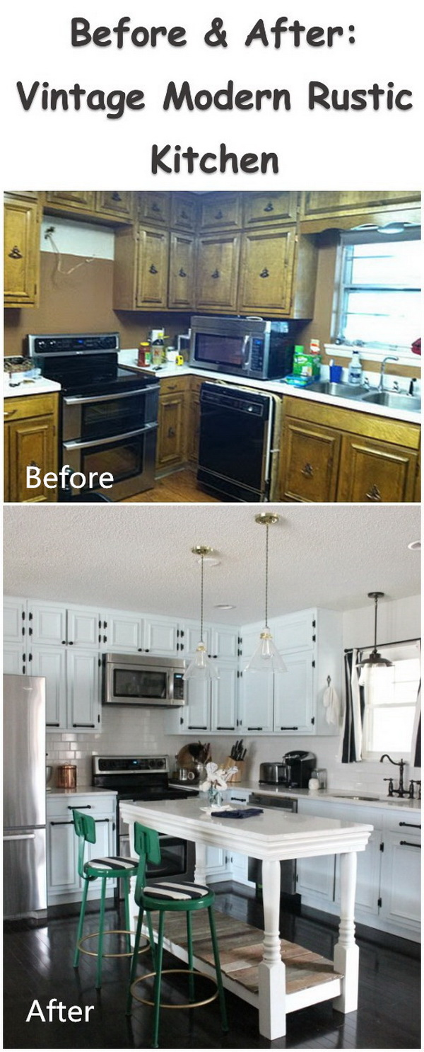Before & After: Vintage Modern Rustic Kitchen.