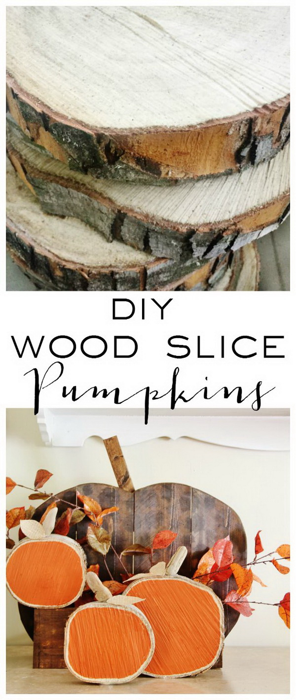 DIY Wood Slice Pumpkins. Fall means all things pumpkin, right? Love these rustic pumpkins made from wood slices and they will give your home a natural boost for this season.