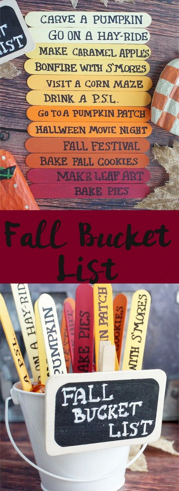 Fall Bucket List. Great fall crafts for kids to make this season! And also be a creative decor project all fall long!