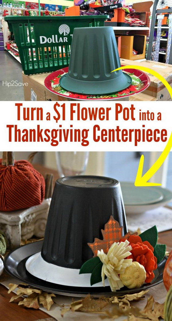 Dollar Store Thanksgiving Hat Centerpiece. See how to turn a $1 flower pot from the dollar store into a centerpiece for Thanksgiving table.