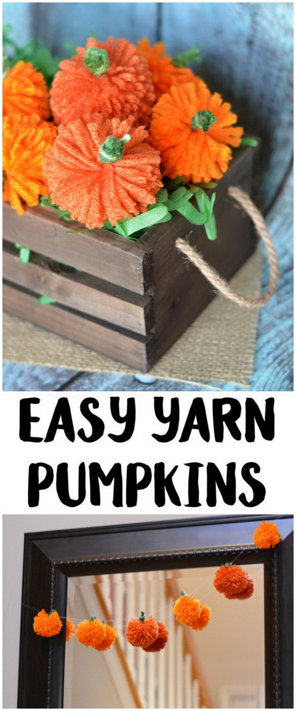 Easy DIY Yarn Pumpkins. Small yarn pumpkins are easy to make. Great craft project for kids this season! They make easy and warm decor idea for home!