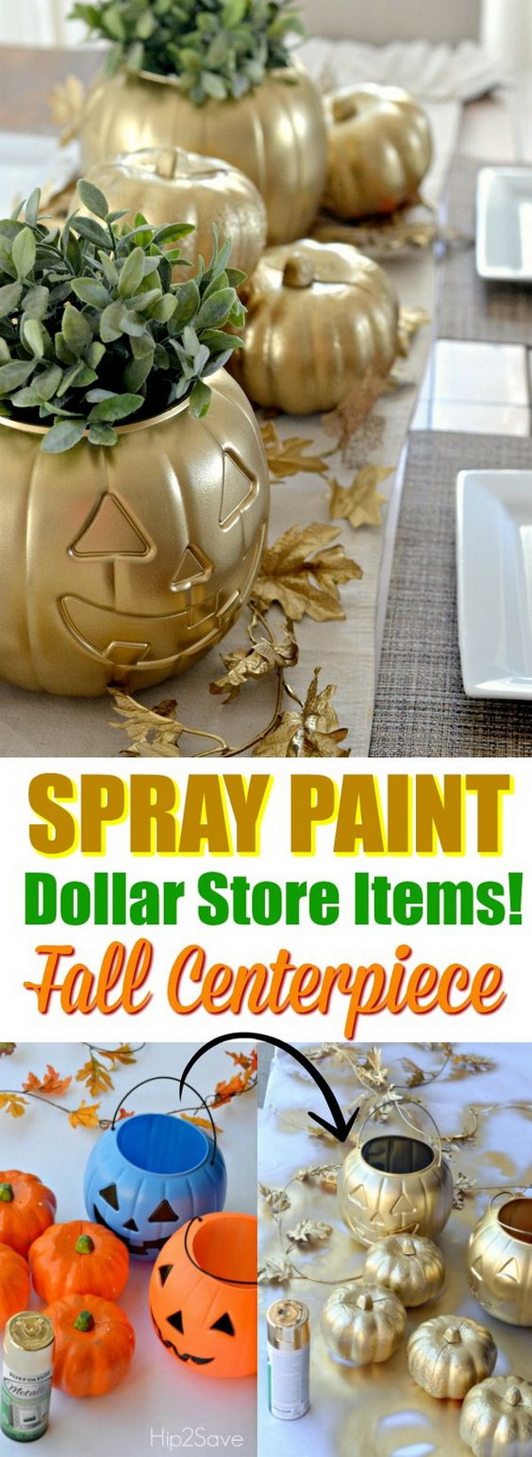 Dollar Store Pumpkin Decoration. Transform a dollar store pumpkin into this stunning fall or halloween decor project with spray paint!